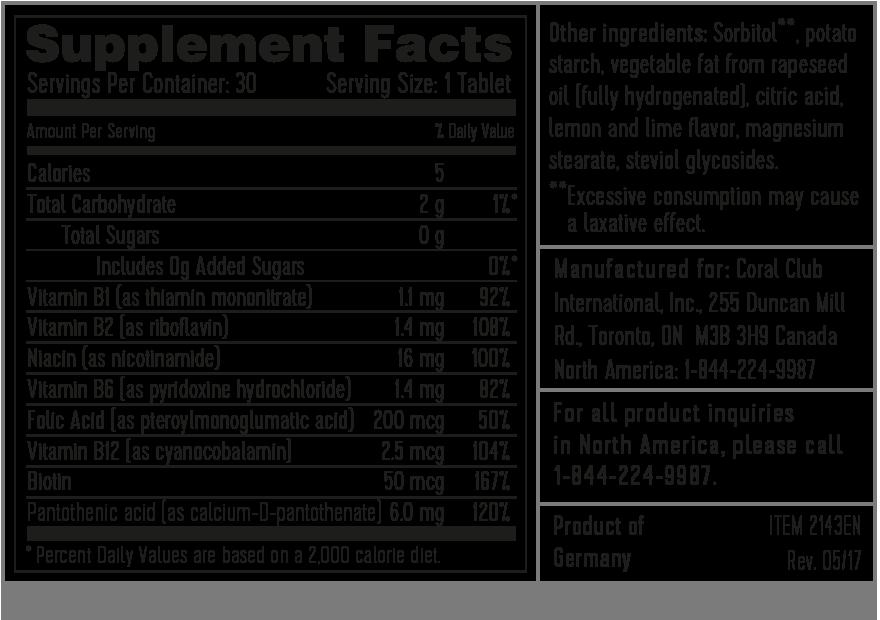 Состав комплекса витаминов группы B Тэйсти B